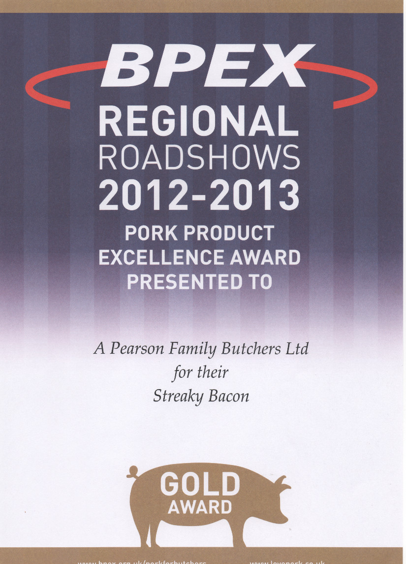 Pearsons Butchers Tameside won gold award for their streaky bacon