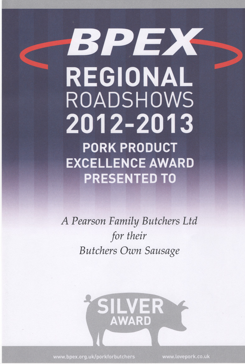 Silver Award butchers own sausage